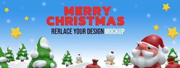 Diseño de maqueta de renderizado 3d de feliz navidad