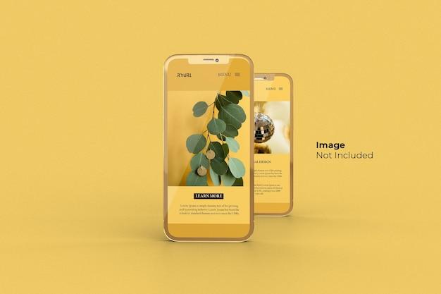 Diseño de maqueta de smartphone dorado en pantalla completa