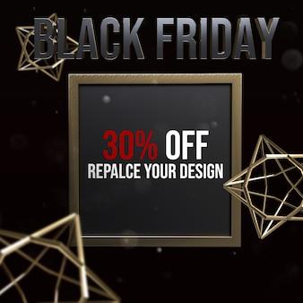 Diseño de maqueta de tamaño cuadrado de black friday socail media