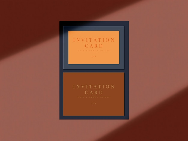 Diseño de maqueta de tarjeta de invitación de boda para tarjeta de felicitación de presentación o diseño de invitación con superposición de sombras