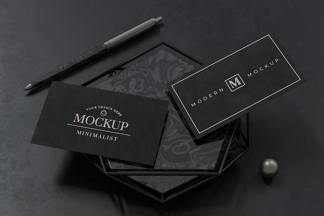 Diseño de maqueta de tarjeta de visita negra en renderizado 3d