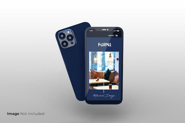 Diseño de maqueta de teléfono inteligente azul de pantalla completa