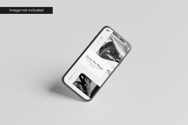 Diseño de maqueta de teléfono inteligente flotante en representación 3d