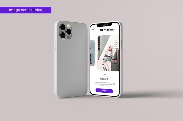 Diseño de maqueta de teléfono inteligente de pie en representación 3d