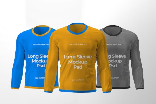 Diseño de maqueta de tres camisetas de manga larga aisladas