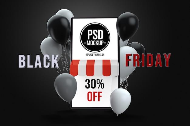 Diseño de maqueta de viernes negro de smartphone