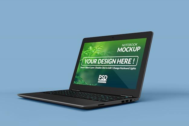 Diseño de maquetas de laptops comerciales realistas personalizables en posición girada a la derecha en vista izquierda
