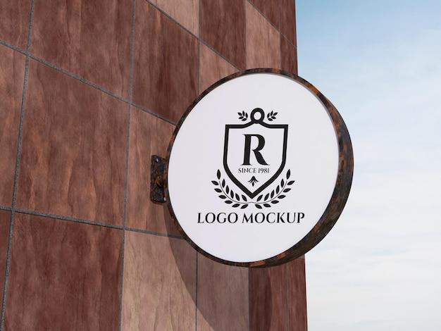 Diseño de marca de maqueta de logotipo de letrero