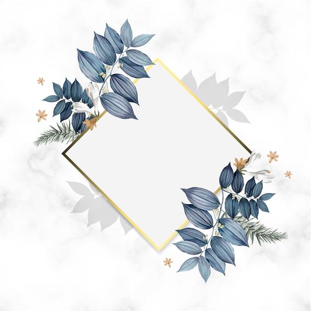 Diseño de marco dorado floral vacío