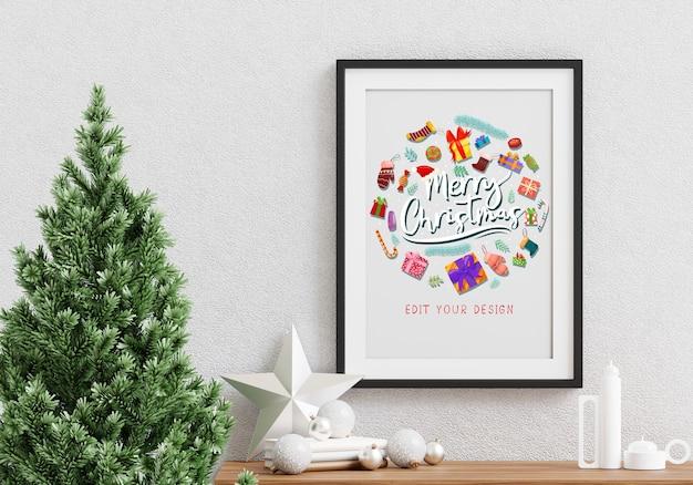 Diseño de marco de felicitación navideña