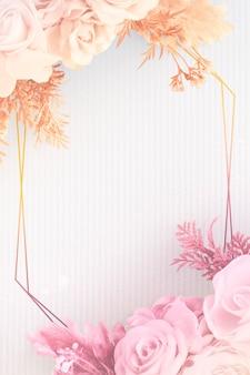 Diseño de marco floral dorado en blanco