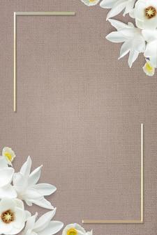 Diseño de marco floral floreciente dorado