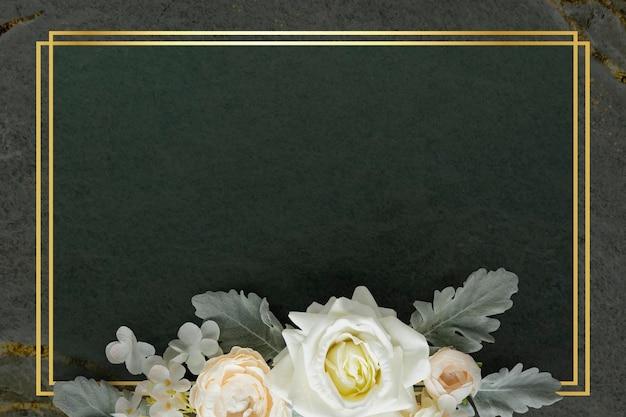 Diseño de marco floral rectángulo dorado