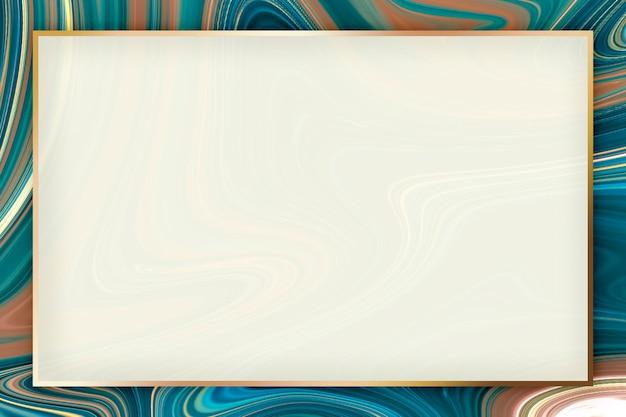 Diseño de marco de rectángulo dorado fluido