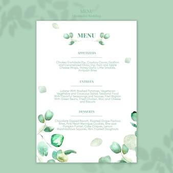 Diseño de menú de boda minimalista.