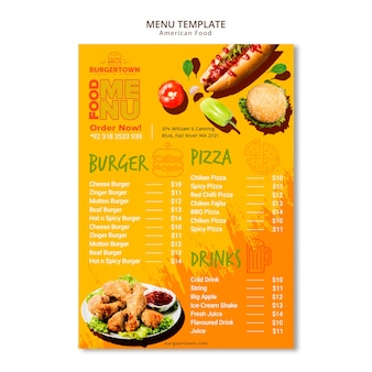 Diseño de menú de comida americana