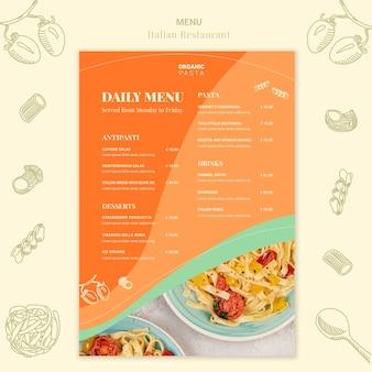 Diseño de menú de restaurante italiano