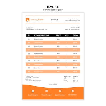 Diseño minimalista de plantilla de factura de pago