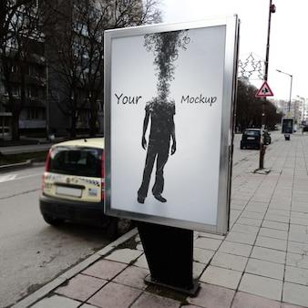 Diseño de mock up de de cartel callejero