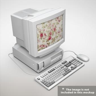 Diseño de mock up de ordenador antiguo
