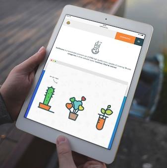Diseño de mock up de pantalla de tableta