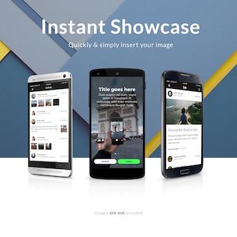 Diseño de mock up de pantalla de teléfono móvil