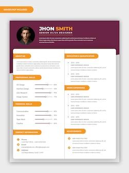Diseño moderno de plantilla de currículum