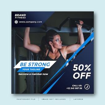 Diseño moderno de promoción de redes sociales de gym and fitness