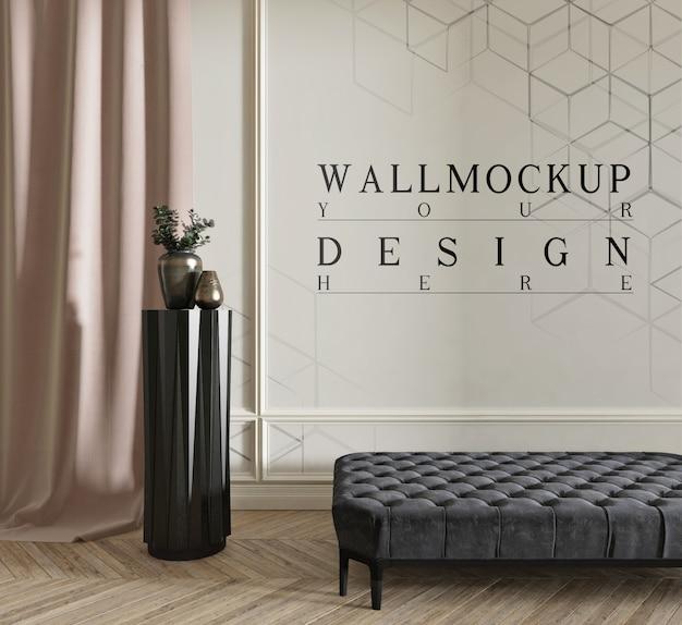 Diseño moderno de salón clásico con pared de maqueta