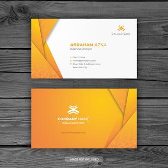 Diseño moderno de tarjeta de visita naranja con concepto corporativo