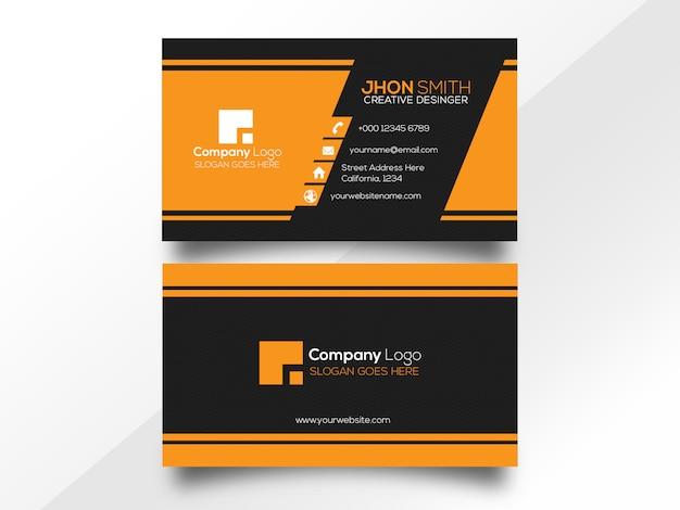 Diseño moderno de tarjetas de visita con color naranja y negro.