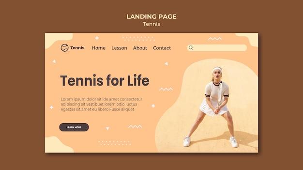 Diseño de la página de aterrizaje del concepto de tenis