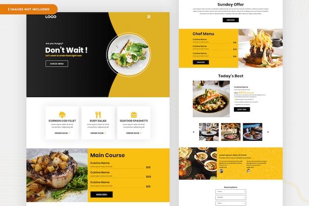 Diseño de la página de aterrizaje del restaurante