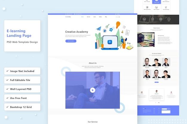 Diseño de página de aterrizaje web de e-learning