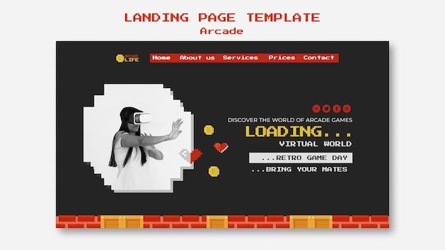Diseño de página de inicio de arcade
