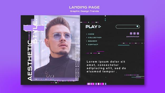 Diseño de páginas de aterrizaje de tendencias de diseño gráfico