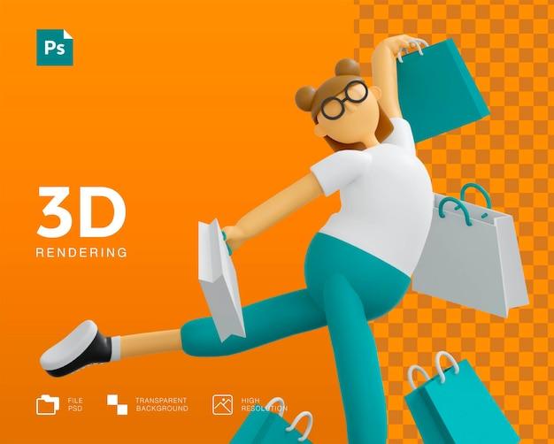 Diseño de personajes de niña de compras 3d