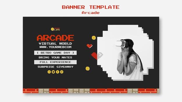 Diseño de plantilla de banner de arcade