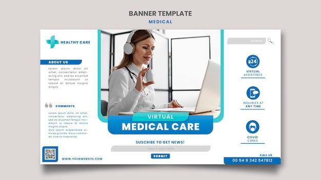 Diseño de plantilla de banner de atención médica