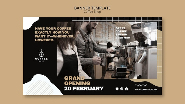 Diseño de plantilla de banner para cafetería