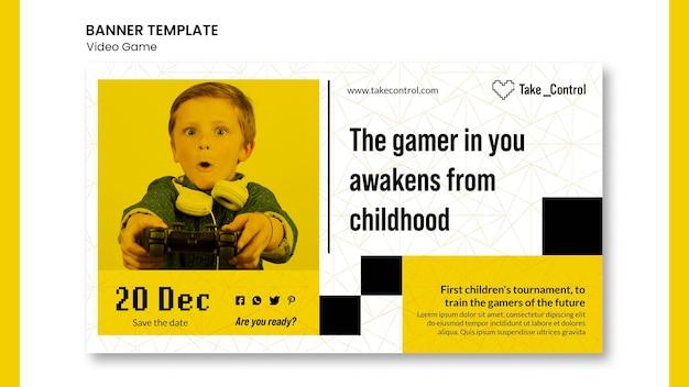 Diseño de plantilla de banner de concepto de videojuego