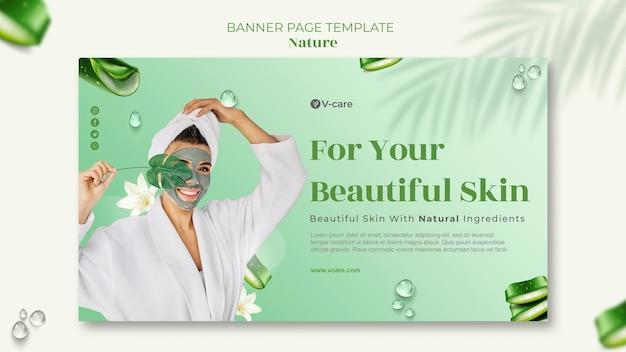 Diseño de plantilla de banner de cosmética natural de aloe vera