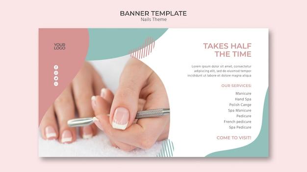 Diseño de plantilla de banner de estudio de uñas