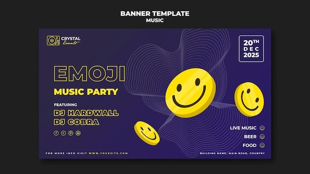Diseño de plantilla de banner de fiesta de música emoji