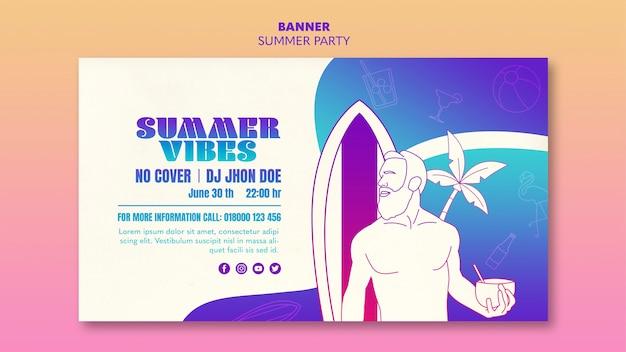 Diseño de plantilla de banner de fiesta de verano