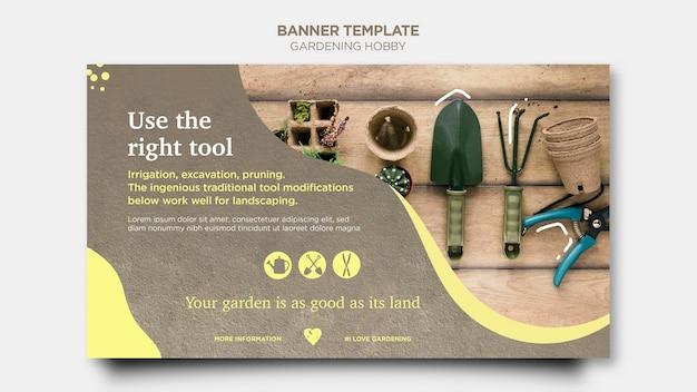 Diseño de plantilla de banner de hobby de jardinería