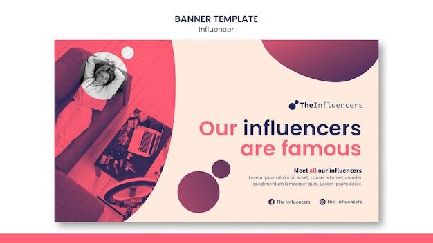 Diseño de plantilla de banner de influencers