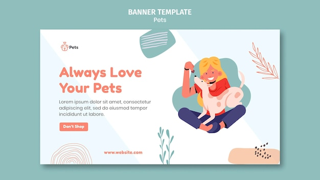 Diseño de plantilla de banner para mascotas