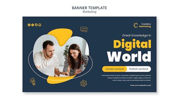 Diseño de plantilla de banner con mundo digital.