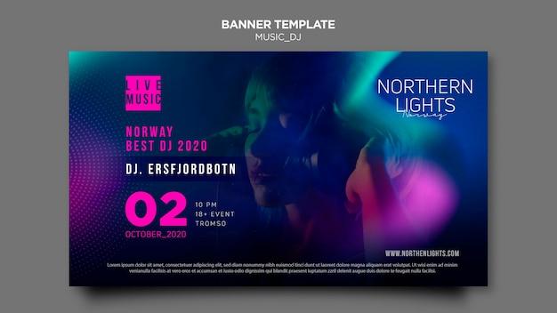 Diseño de plantilla de banner de música dj